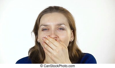 Yawning young caucasian woman - Footage of young caucasian...