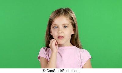 yawns., scherm, groene, klein meisje