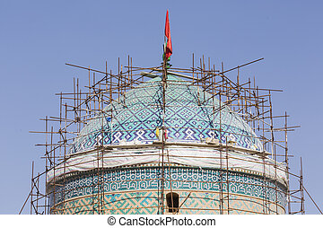 yazd, irán, -, octubre, 07, 2016:, jame, mezquita, de, yazd, en, iran., el, mezquita, es, coronado, por, un, par, de, minaretes, el, supra-sumo, en, iran.