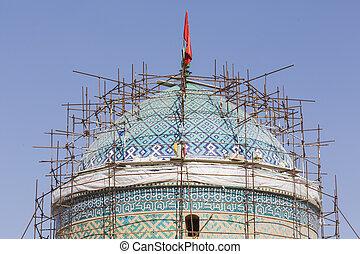 yazd, iran, -, oktober, 07, 2016:, jame, moskee, van, yazd, in, iran., de, moskee, is, gekroond, door, een, paar, van, minarets, de, hoogst, in, iran.