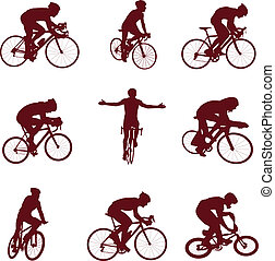 ?ycling silhouettes. Vector illustration for you design