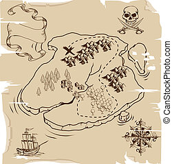Ye Olde Pirate Treasure Map - Illustration of an old...