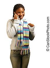 Yeah!! W/ Clipping Path - A teenage girl getting good news...