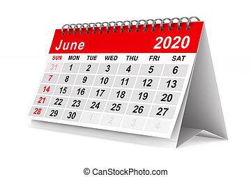 year., 隔離された, 2020, カレンダー, june., イラスト, 3d