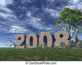 year 2008 - 2008 rock on green field - 3d illustration