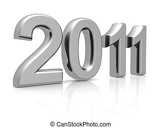 Silver 2011 year with reflection 3d illustration