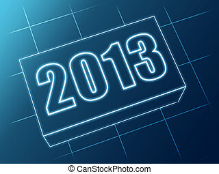 year 2013 in blue glass block - text year 2013 in 3d blue...