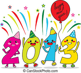 Year 2013 cartoon characters celebrating happy new year party