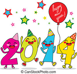 Year 2014 Celebration - Year 2014 cartoon number characters...
