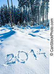 Year 2014 in Winter Forest - Year 2014 written in a winter...