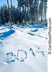 Year 2014 in Winter Forest - Year 2014 written in a winter...