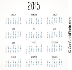 Year 2015 calendar - Simple hand-written calendar layout for...