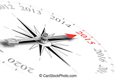 Year 2015 - Compass with red needle pointing the year 2015,...
