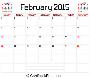 Year 2015 February Planner