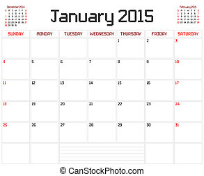 Year 2015 January Planner