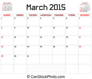 Year 2015 March Planner