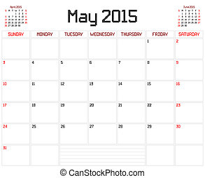 Year 2015 May Planner