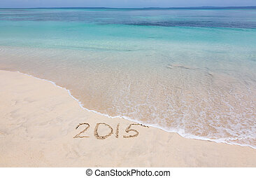 Year 2015 on beach