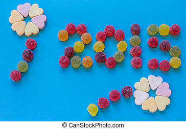 Year 2015 spelled with candy