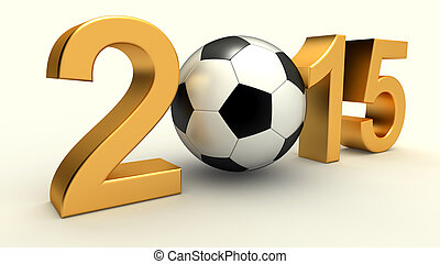 Year 2015 with soccer ball
