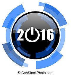 year 2016 black blue glossy web icon