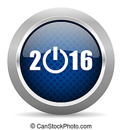 year 2016 blue circle glossy web icon on white background, round button for internet and mobile app