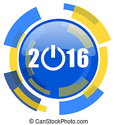 year 2016 blue yellow glossy web icon