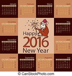Year 2016 calendar template, week starts sunday