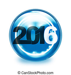 year 2016 creative round icon button design