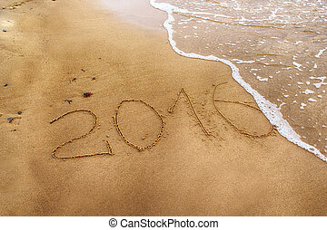Year 2016 drawing on the sand