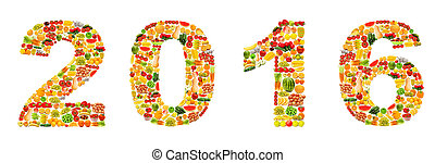 Year 2016 made from fruits