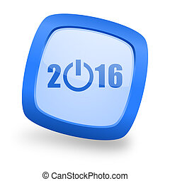 year 2016 square glossy blue web design icon