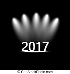 Year 2017 icon. Internet button on black background.
