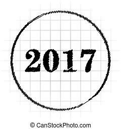 Year 2017 icon. Internet button on white background.