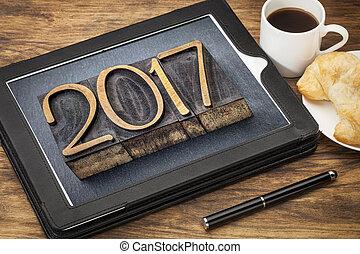 year 2017 in vintage wood type