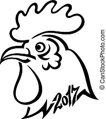 Year 2017 symbol Chinese Rooster Head. Hand drawing. Black lines on white background.