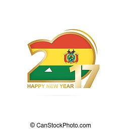 Year 2017 with Bolivia Flag pattern. Happy New Year Design on white background.