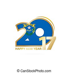 Year 2017 with Nevada state Flag pattern. Happy New Year Design on white background.