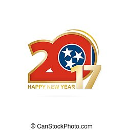 Year 2017 with Tennessee state Flag pattern. Happy New Year Design on white background.
