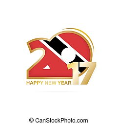 Year 2017 with Trinidad and Tobago Flag pattern. Happy New...