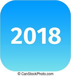 year 2018 blue icon