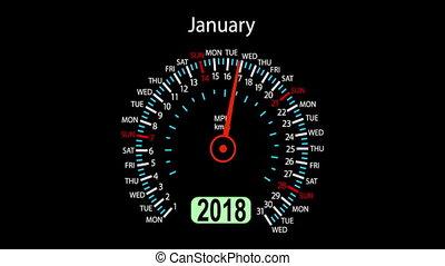 Year 2018 calendar speedometer car in concept animation....