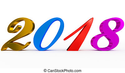 year 2018 colorful script 3d numbers isolated on white