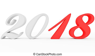 year 2018 marked red-white script 3d numbers isolated on white