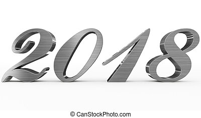 year 2018 metal script 3d numbers isolated on white