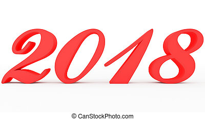 year 2018 red script 3d numbers isolated on white