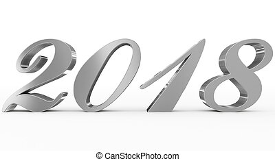 year 2018 silver script 3d numbers isolated on white