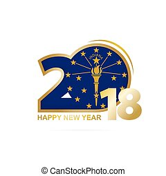 Year 2018 with Indiana Flag pattern. Happy New Year Design. ...