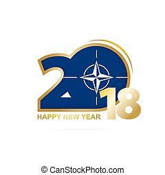 Year 2018 with Nato Flag pattern. Happy New Year Design....