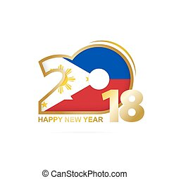 Year 2018 with Philippines Flag pattern. Happy New Year...